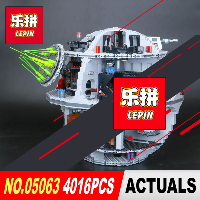 LEPIN 05063 4016Pcs Star Series Wars Death UCS Star Rogue Wars Force Waken Building Block Bricks Toys Compatible with 75159 in stock lepin 05063 4116pcs 05035 3804pcs star force waken ucs death wars model building blocks bricks toys gifts 75159 10188