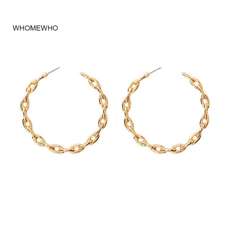 WHOMEWHO Earring Summer Gold Hammered Metal Round Minimalist Minimalism Chain Hoop Earrings Korean Fashion Women Party Jewelry