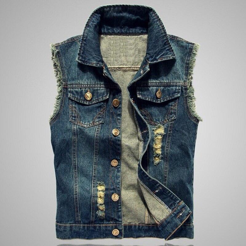 Déchiré Denim Gilets Hommes Veste Sans Manches Plus La Taille 5xl 6xl Solide Couleur Gilet Jeans Bleu Cowboy Printemps Automne 2018 Modes