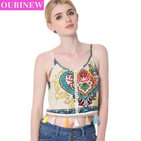 OUBINEW Camo Camisole Retro Pattern Tassels Bustier Crop Top Sexy Spaghetti Strap Camouflage Bustiers Corsets Short