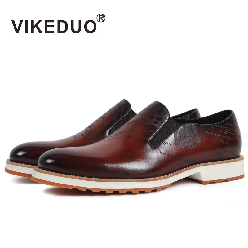 2018 Vikeduo Handmade Hot Mens Loafer Shoes 100% Genuine Leather Fashion Luxury Causal Party Dress Young Man Original Design