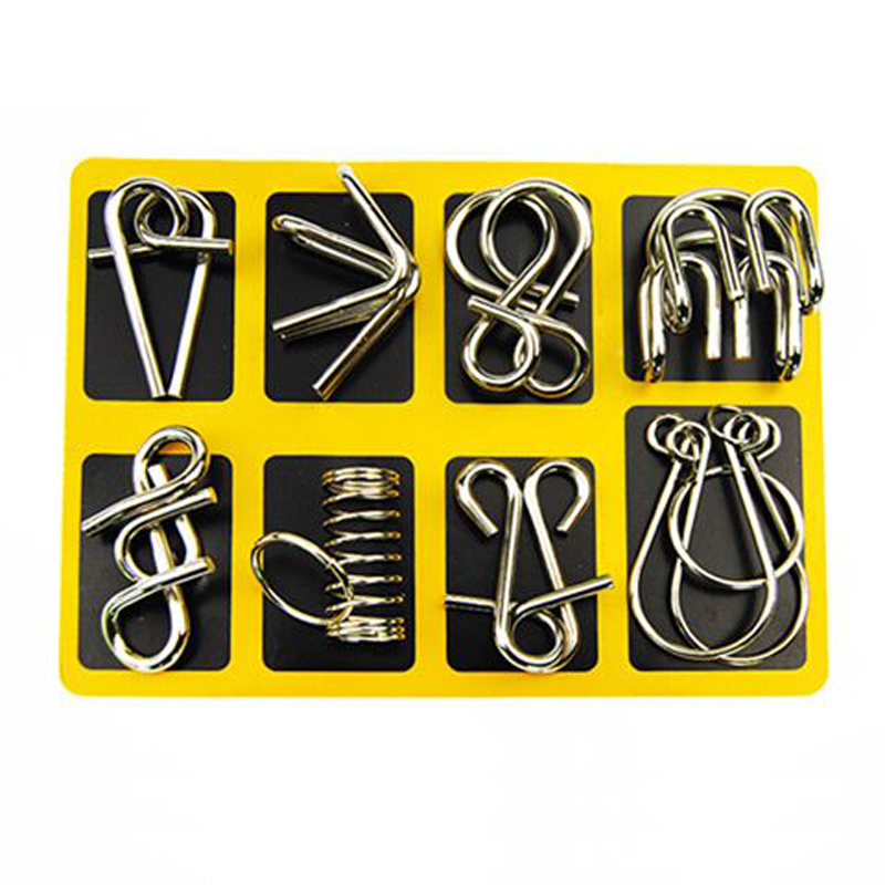 Montessori Material 8PCS / Set Metal Wire Puzzle IQ Mind Brain Teaser - ფაზლები - ფოტო 2
