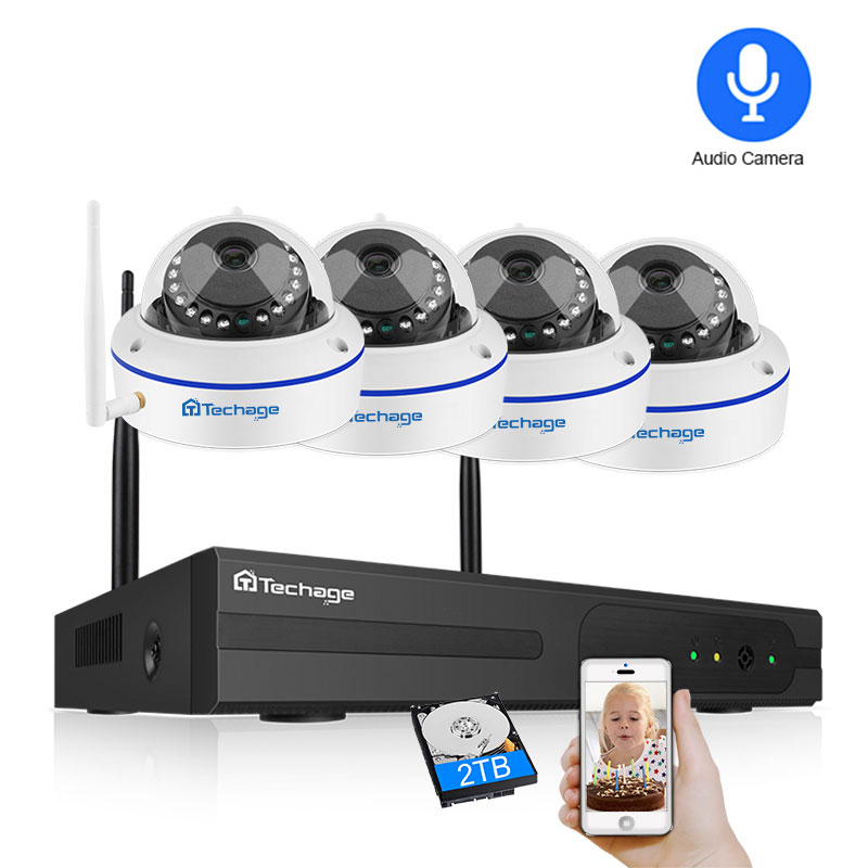 Techage 4CH Wireless CCTV System 1080P HD NVR 2PCS Dome 2.0MP IR Outdoor Waterproof Wifi Security Surveillance Kit Camera System