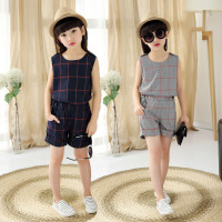 2017 summer new children's clothing girl plaid sleeveless vest + shorts two-piece set 12 years old girls clothes kids child