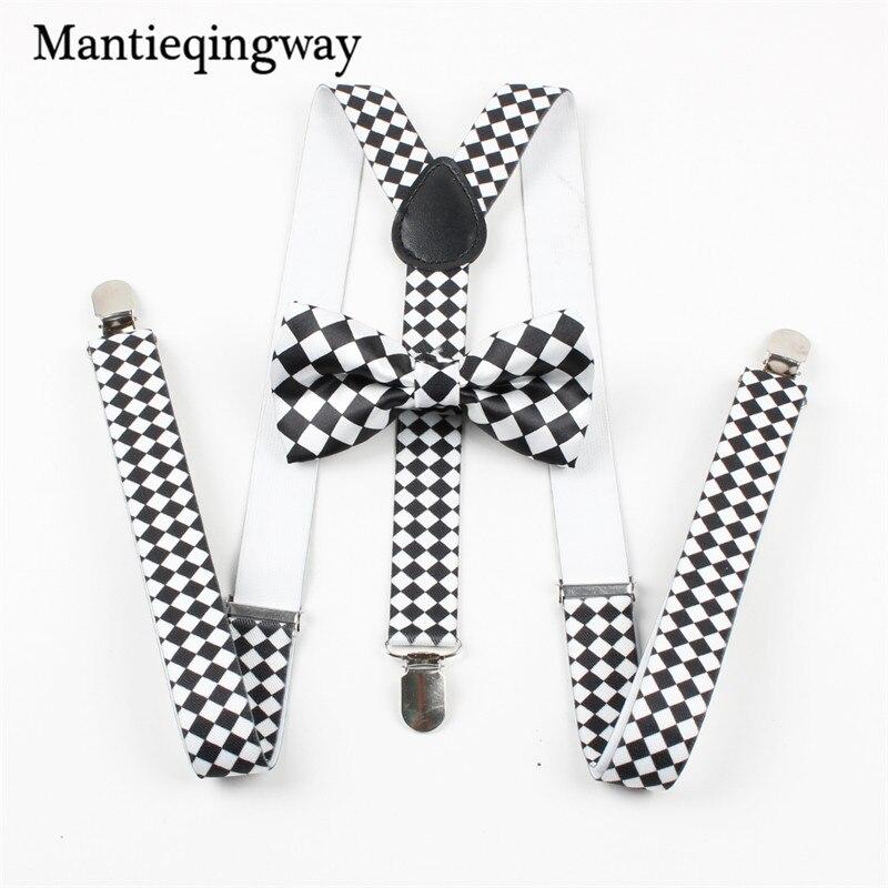 Fashion Elastic Suspender Y-Back Suspenders Bow Ties for Wedding Women Mens Unisex Clip-on Braces Bowtie Sets