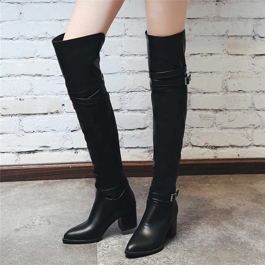 3cef74ff21 ... Spring Autumn Women Over the Knee Boots High Heel Woman Thigh High Long Boots  Small Plus ...