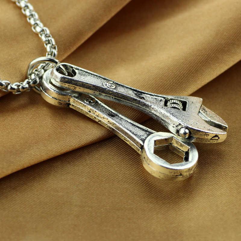 Mały rozmiar klucz wisiorek mężczyzn naszyjnik ze stali nierdzewnej z 50cm Link Chain biżuteria prezent dla trudnych mężczyzn i chłopca
