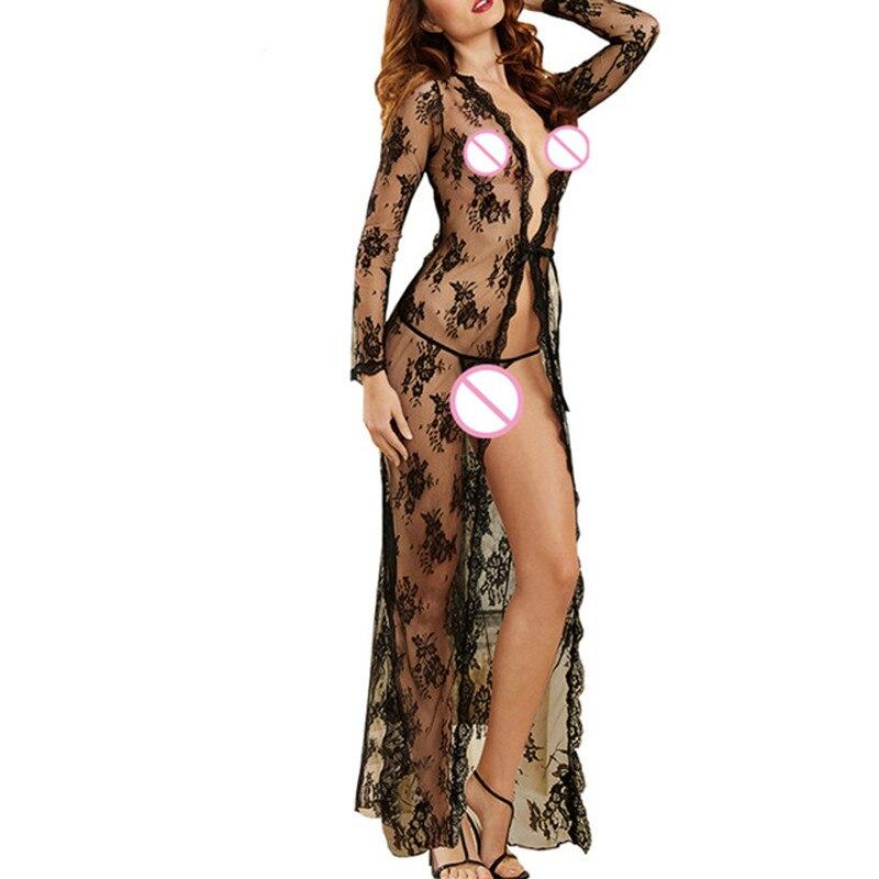 Fantasias Sexy Erotic Lingerie Hot Lace Bathrobe Nightgown Black Transparent Jacquard Babydoll Long Dress Women