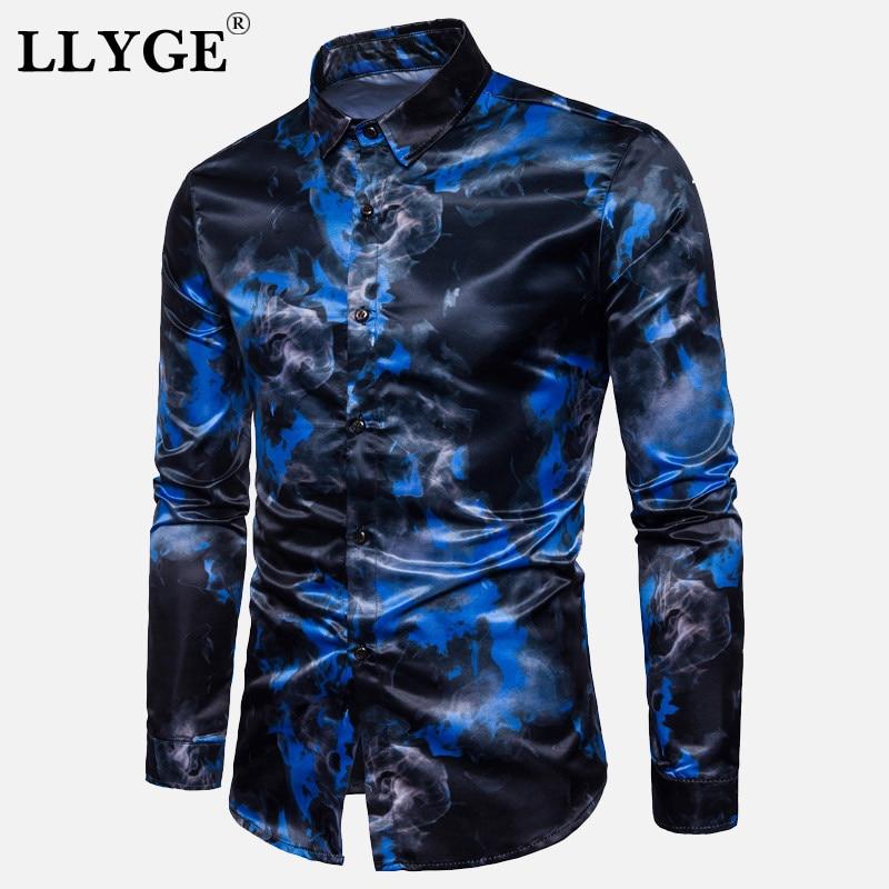 Gothic Printed Long Sleeve Men's Shirt Silk Satin 2020 Spring Turn Down Collar Man Shirts Summer Streetwear Fashion Male Clothes