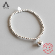 Simple Round Bead Bracelet for Ladies Real 925 Sterling Silver Bracelet Women Fine Jewelry Wholesale