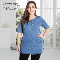 Water's Edge 5XL 6XL Thin Denim Women T shirts Large Size Half Sleeve O neck Female Tops Tees Casual Large Clothes Blue T shirt