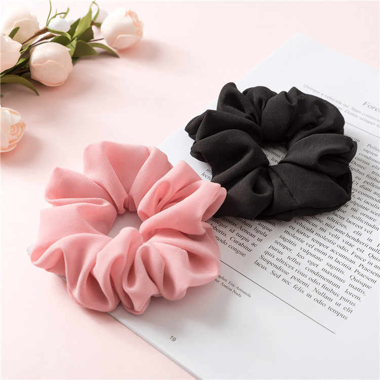 Fashion Chiffon Hair scrunchies Bobble Solid Color Sports Dance Elastic Headband Rope Women Hair Band Ring Scrunchie Ponytail