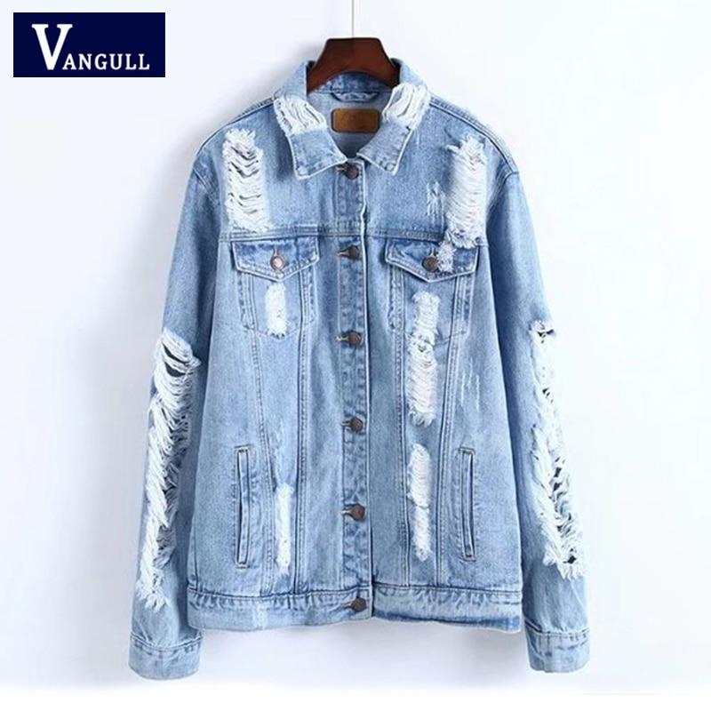 VANGULL Vintage Denim Jacket Women Break Hole Coat 2019 New Spring Fashion Streetwear Cool Jeans Jacket Coat Outwear with Pocket