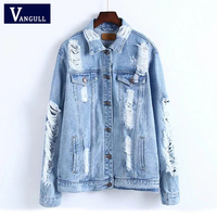 VANGULL Vintage Denim Jacket Women Break Hole Coat 2019 New Spring Fashion Streetwear Cool Jeans Jacket Coat Outwear with Pocket
