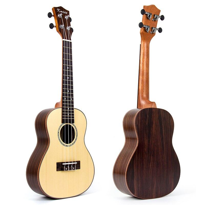 Kmise Concert Ukulele Solid Spruce Ukelele Uke 23 inch 18 Frets 4 String Acoustic Hawaii Guitar Rosewood Back Side
