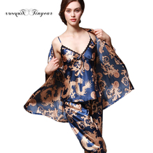 Tinyear 2017 New Fashion 3 Pcs Robe Pajama Pants Sets Ladies Sleep Lounge Dragon Print Night Shirt Female Pajama Sets TZ013