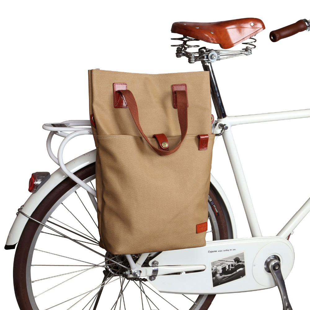 Tourbon Retro Waxed Canvas Bicycle Pouch Bike Rear Seat Carrier Bag Brown Cycling Pannier Bags Pack