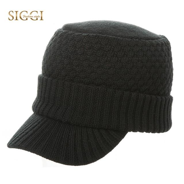 SIGGI Winter Knitted Men Baseball Caps Warm Wool Acrylic Solid 3 Panels  Lining Brim Stretch Soft Gorro Bonnet Hats Male 68085 80f3989218d