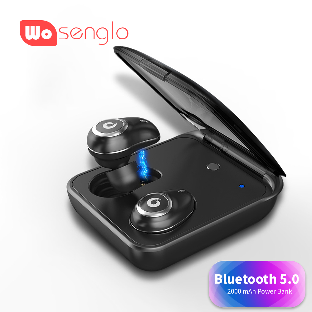 Bluetooth 5.0 In Ear Earbud True Wireless Stereo Earphones HIFI Sound Headphone With 2000 Mah Power Bank Box For Iphone 7 8 X Xs