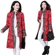 Chinese Flowers Coats Women Winter 2016 Linen Long Down Coat Plus Size Parka Coat Mandarin Collar Ethnic Jackets Female Overcoat