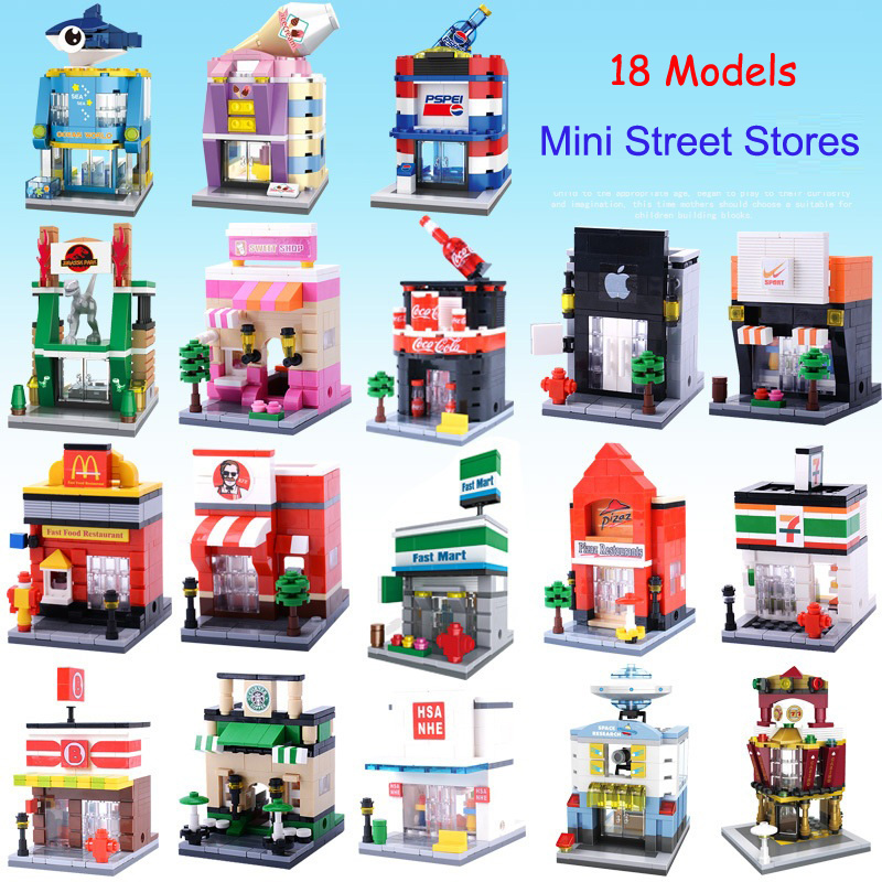 HSANHE City Series MINI Street 18 Sets Various Stores Model Building Blocks Enlighten Figure Toys For Children Compatible Legoe lepin city town city square building blocks sets bricks kids model kids toys for children marvel compatible legoe
