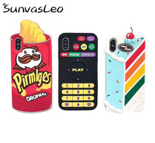 For iPhone X XS XR XS Max 6 6s 7 8 Plus 3D Ice Cream Remote-Control Cartoon Soft Silicone Case Anti-drop Phone Back Cover(China)