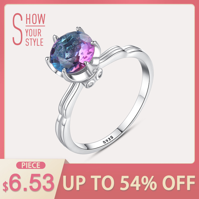 CZCITY Genuine 925 Sterling Silver Rainbow Fire Mystic Topaz Solid Ring For Wome