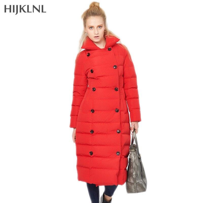 HIJKLNL Duck   Down   Jacket Women 2019 New Winter Fashion Double Breasted long Slim   Down     Coat   Women's Feather   Coat   Outwear LH1267