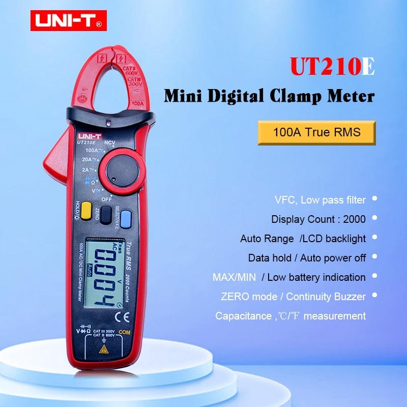 UNI-T mini digital clamp meters ut210a ut210b ut210c ut210d ut210e verdadeiro rms auto faixa vfc capacitância não contato multímetro