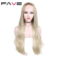 FAVE Lace Frontal Wig Silk Straight Middle Part 28 Inches Long Wig Brown/Ash Blonde Ombre Wig For Women Synthetic Lace Wig