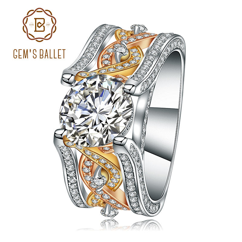 Gem's Ballet Pure 925 Sterling Silver Wedding Engagement Ring Gorgeous Promise Vintage Ring Jewelry Gift For Women Fine Jewelry