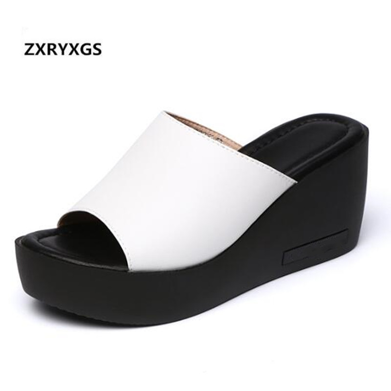 2019 newest Elegant and comfort summer sandals women slippers casual shoes large size genuine leather shoes