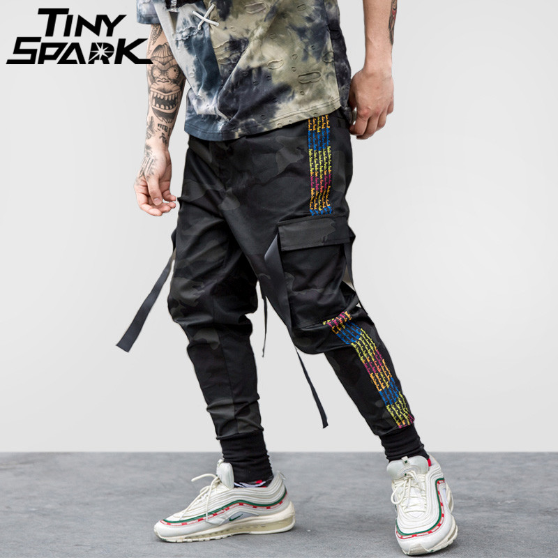 Hip Hop Cargo Pant Streetwear Men Harem Pant Multi Pocket Camouflage Trousers Side Stripe Casual Tatical Pant Swag Ribbon 2018