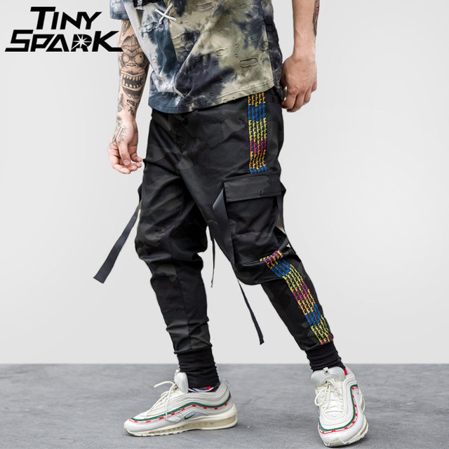 5dbee89c272 Hip Hop Cargo Pant Streetwear Men Harem Pant Multi Pocket Camouflage  Trousers Side Stripe Casual Tatical