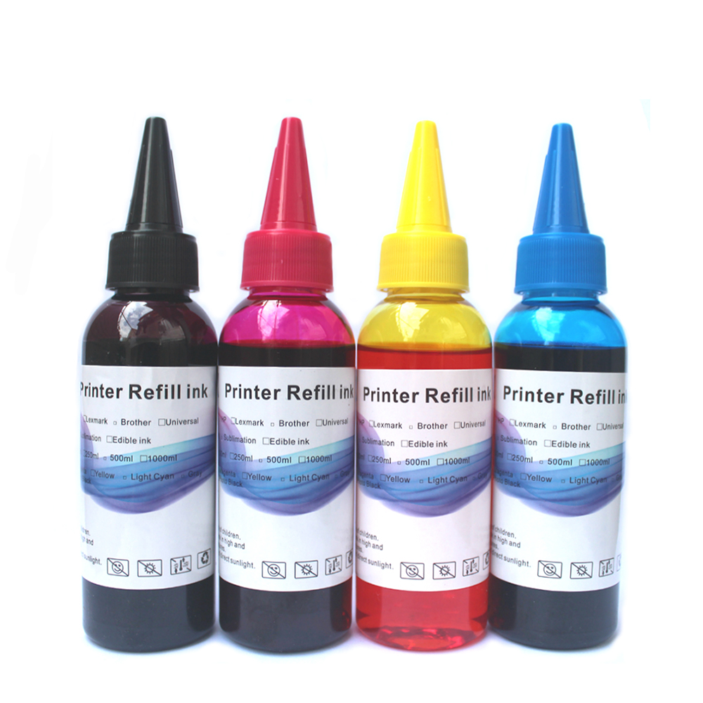Printer Ink Refill Kit for Epson Canon HP Brother for Dell Kodak Inkjet Ciss Cartridge 4x100ml original 1000ml bottle cleaning liquid for epson for canon for hp inkjet printer cleaning fluid use for cartridge