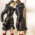 Женщин девушки пуховик 2016 Зимняя куртка женщин вниз куртка Пальто Даунс Куртки Длиной дизайн Сгущает Пальто 90% Утка