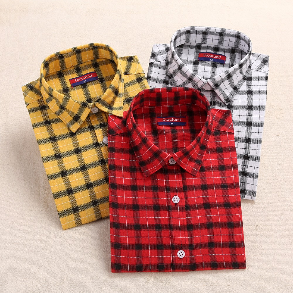 Hot New Kobiety Plaid Bluzka Koszula Blusa Ladies Topy Bluzka z długimi rękawami Camisa Feminina Cotton Women Topy Plaid Shirt Women