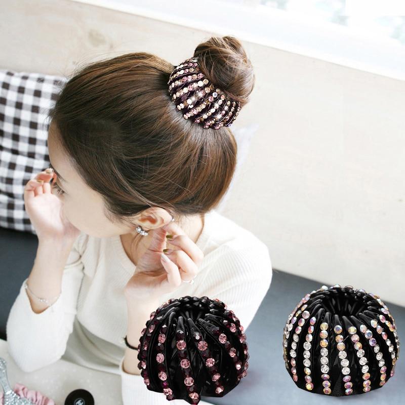 Neue Frauen Kristall Haar Styling Donut Bun Maker-Tool Haar Falten Wrap Haar Klaue Pferdeschwanz Halter Schellen Stirnband Haar Zubehör