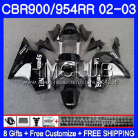 Black silvery Body For HONDA CBR900RR CBR 954 RR CBR900 RR CBR954RR 02 03 67HM.2 CBR954 RR CBR 900RR CBR 954RR 2002 2003 Fairing