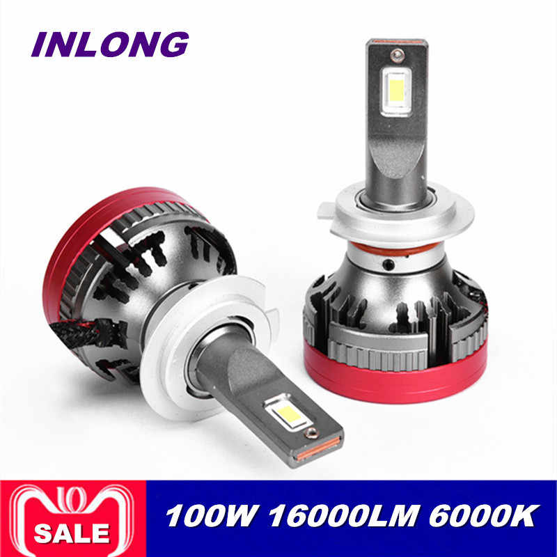 Inlong Y8 H4 H7 9005 9006 Car LED Headlight Bulb H1 H9 H3 H8 D1S H1 D4S D2S D3S 100W 18000LM Headlamp Led Bulbs Fog Lights 6000K