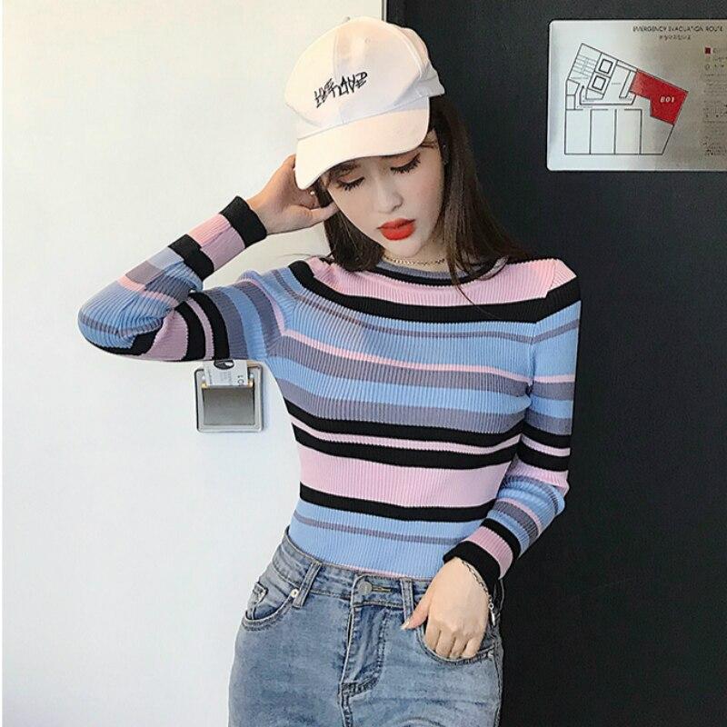2019 Spring  Autumn Wild Striped Bottoming Shirt Low Round Neck Long-sleeved Sweater Women's Shirt Slim Thin Sweater Women's