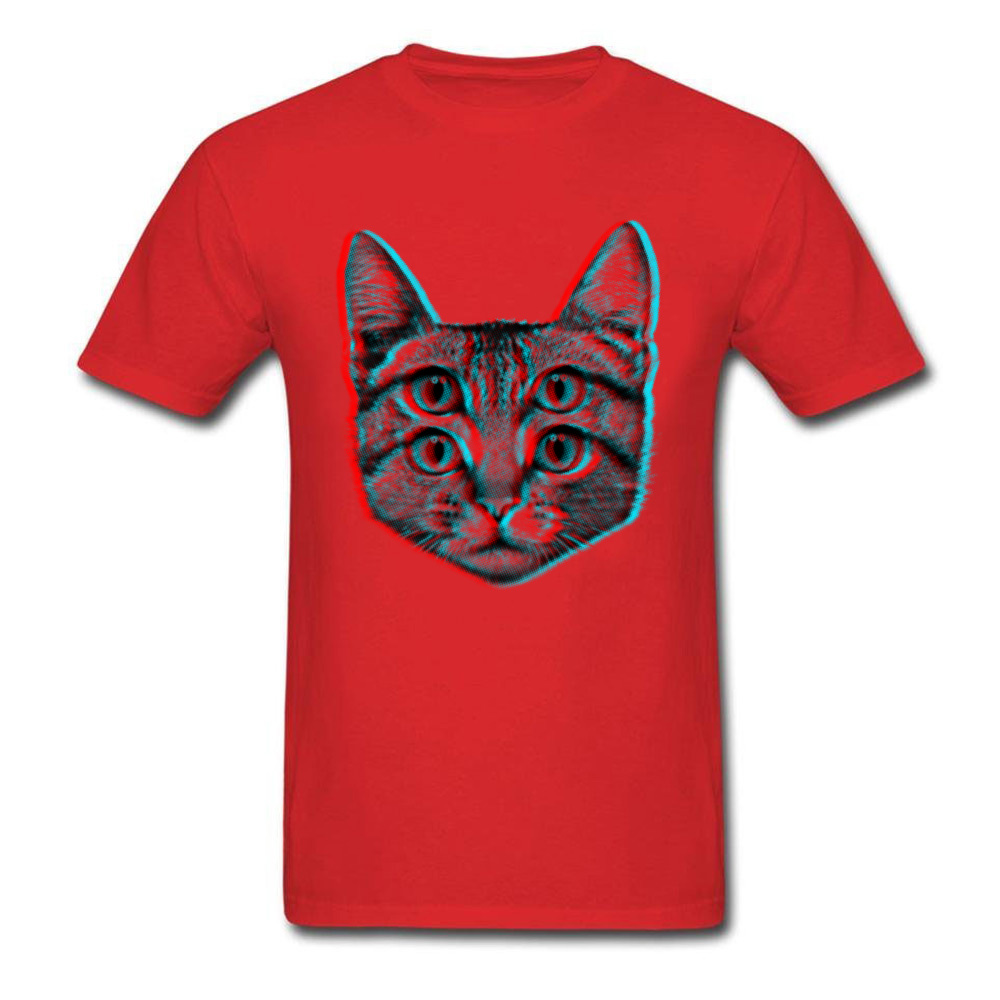 3D Cat Summer/Fall 100% Cotton O-Neck Tops T Shirt Short Sleeve Casual T Shirt 2018 New Funny T Shirt Free Shipping 3D Cat red