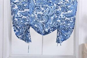 Image 5 - Nodic Phong Cách Hoa Màu Xanh In Màn Rèm cho Phòng Khách Kid Phòng Ngủ Nhà Cửa Trang Trí Cửa Sổ Nâng Rèm Rắn Hot