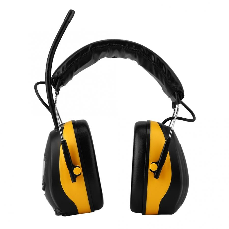 NRR 28dB Electronic Hearing Protector LCD Display MP3 AM FM Radio Noise Reduction Safety Earmuff For Working Yellow