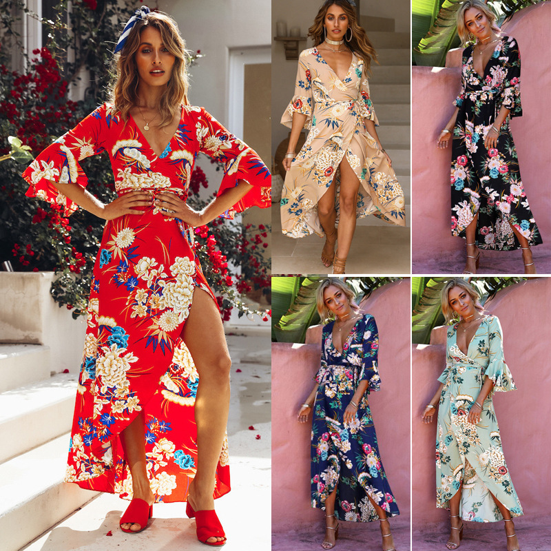 New high quality floral V-neck split high waist split dress casual sleeveless strap beach dress female