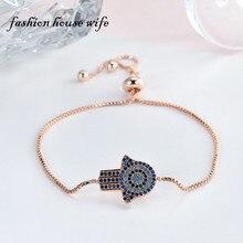 New Colorlful Rhinestone Fatima Hamsa Hand Bracelet For Women Adjustable Rose Gold Chain Copper Bracelets Jewelry Gift LB0057