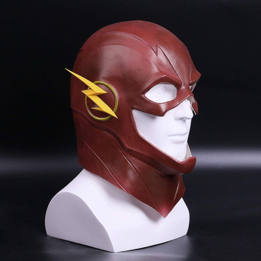 The Flash Mask DC Barry Allen Mask Cosplay Costume Prop Halloween Full Head Latex Party Masks (3)