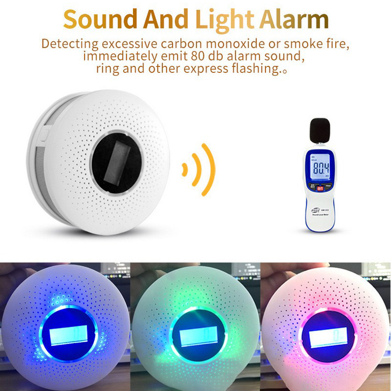 2 in 1 Smoke Fire CO Gas Detector Leak with Sound and Light Alarm Analyzer Monitor Sensor