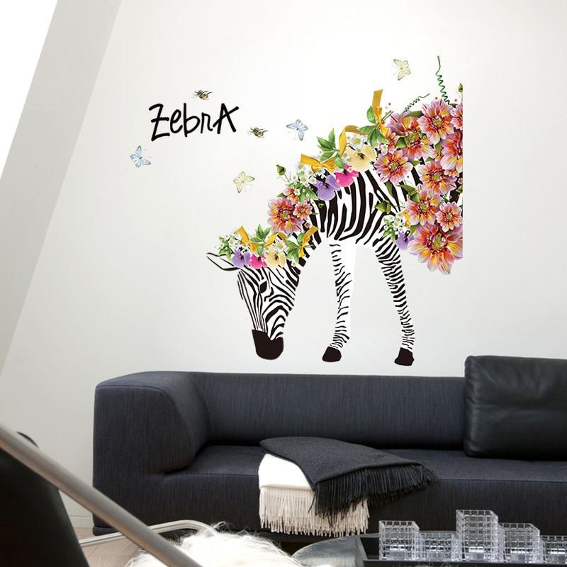 Aliexpress.com : Buy Zebra Flowers Butterfly Decor Wall