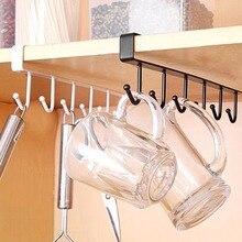 Diseño de tipo U, estante de 6 ganchos, organizador para baño y cocina, colgador sin costuras, Multi ganchos, soporte de almacenamiento para tazas de café y vino, estantes para platos